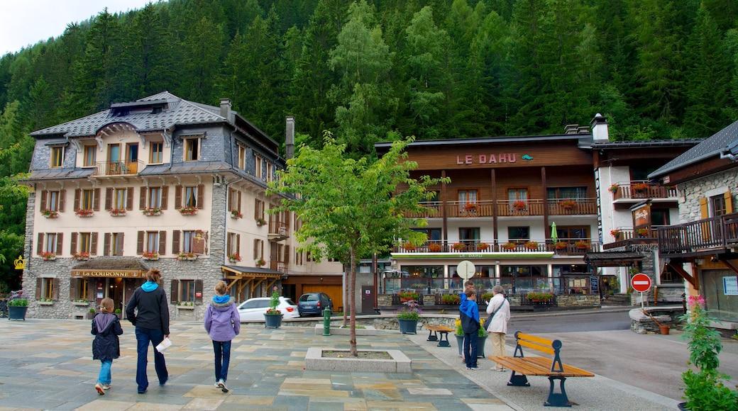 Argentière montrant hôtel, square ou place et petite ville ou village
