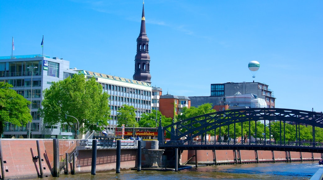 Speicherstadt which includes a city and a bridge