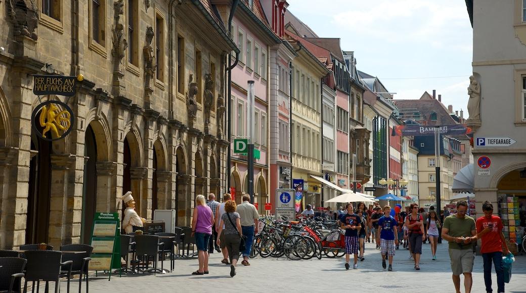 Bamberg welches beinhaltet Straßenszenen, Stadt und historische Architektur