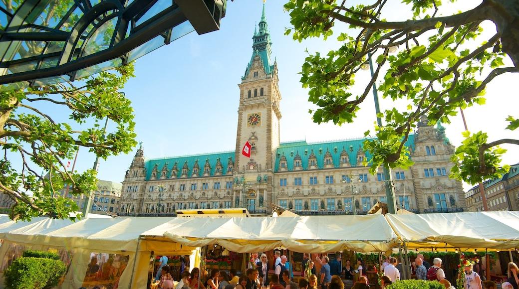 Hamburger Rathaus mit einem Märkte, historische Architektur und Stadt