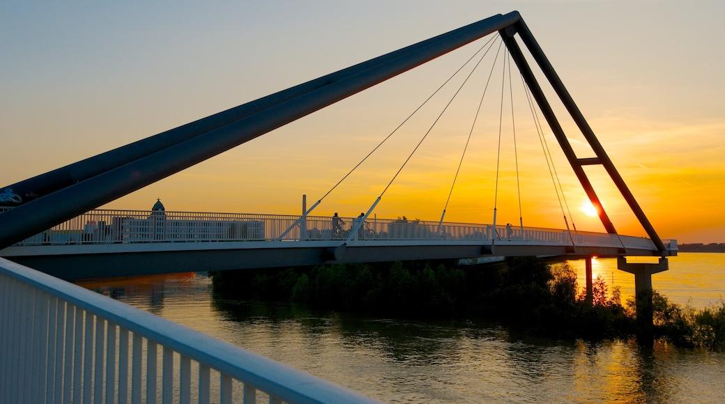 Hafen mit einem Sonnenuntergang, Bucht oder Hafen und Hängebrücke oder Baumkronenpfad