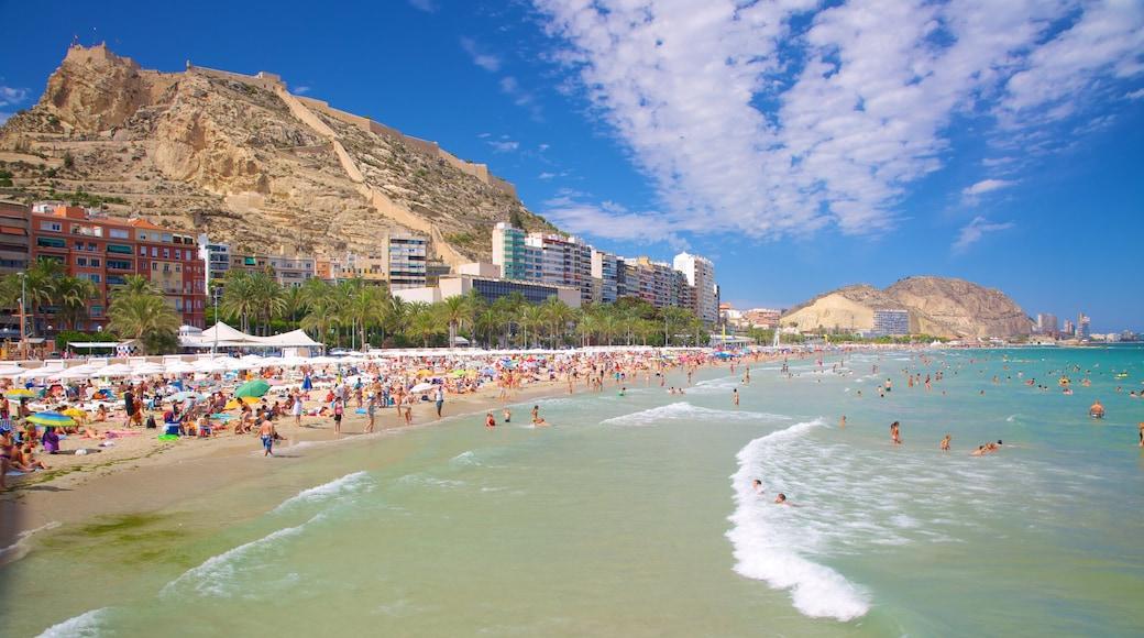 Alicante ofreciendo una playa de arena, natación y una localidad costera