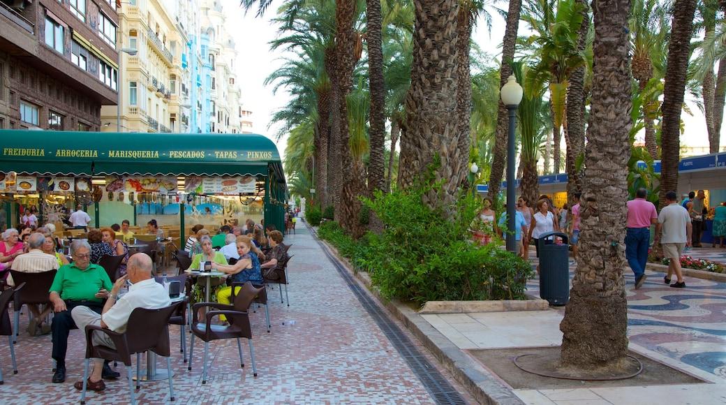 Explanada de España montrant pause café, ville et scènes de rue