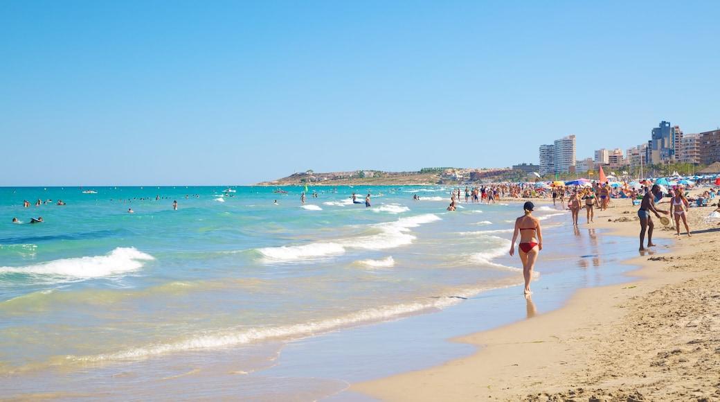 Alicante inclusief een zandstrand en zwemmen en ook een grote groep mensen