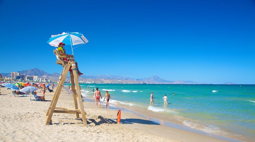 Alicante bevat zwemmen en een strand