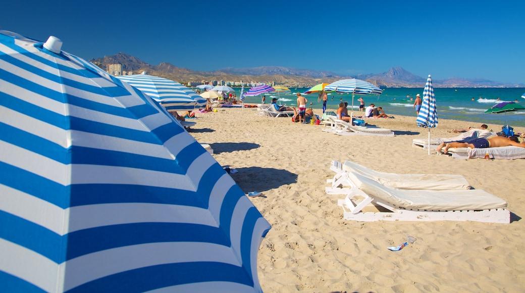 Alicante welches beinhaltet Strand sowie große Menschengruppe