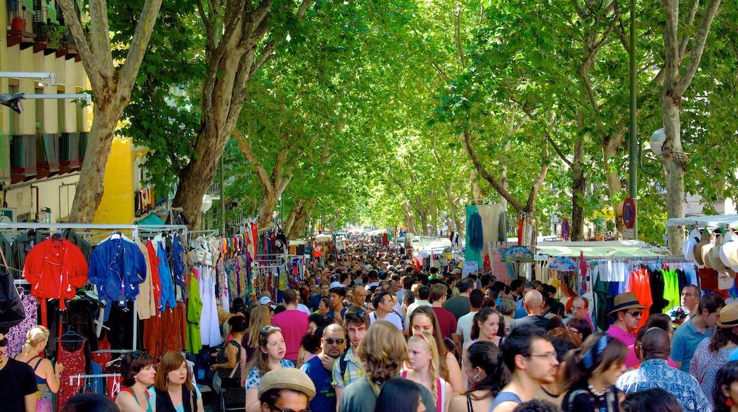 El Rastro跳蚤市場 其中包括 城市, 街道景色 和 市場