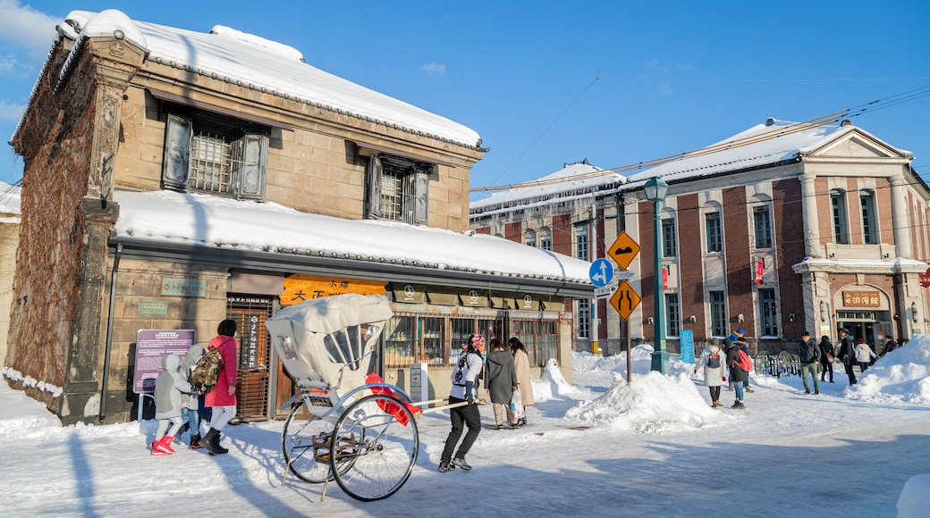 Sakaimachi Street which includes snow and street scenes
