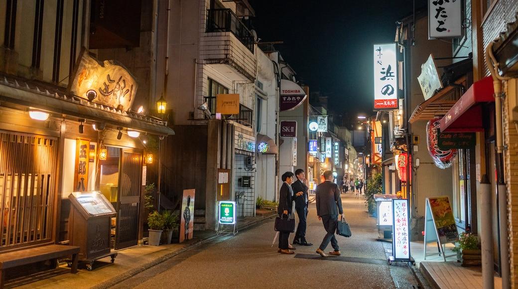 Nagata Machi which includes street scenes, signage and night scenes