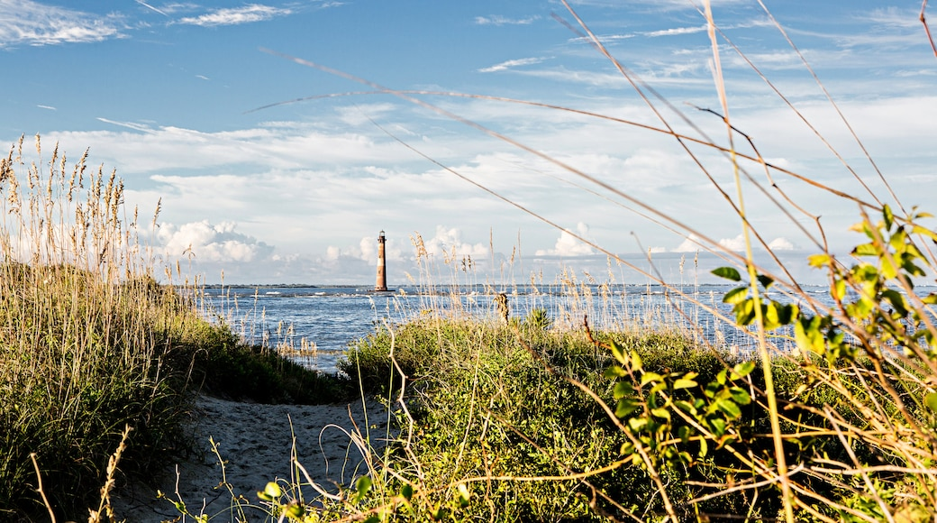 Folly Beach showing a lighthouse and general coastal views