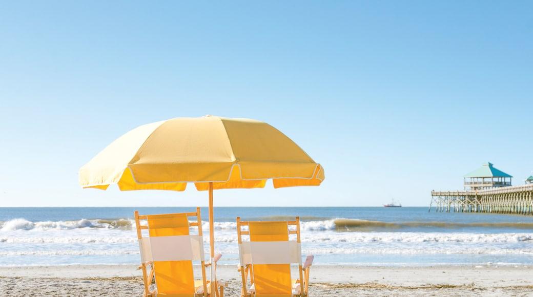 Folly Beach showing general coastal views and a beach