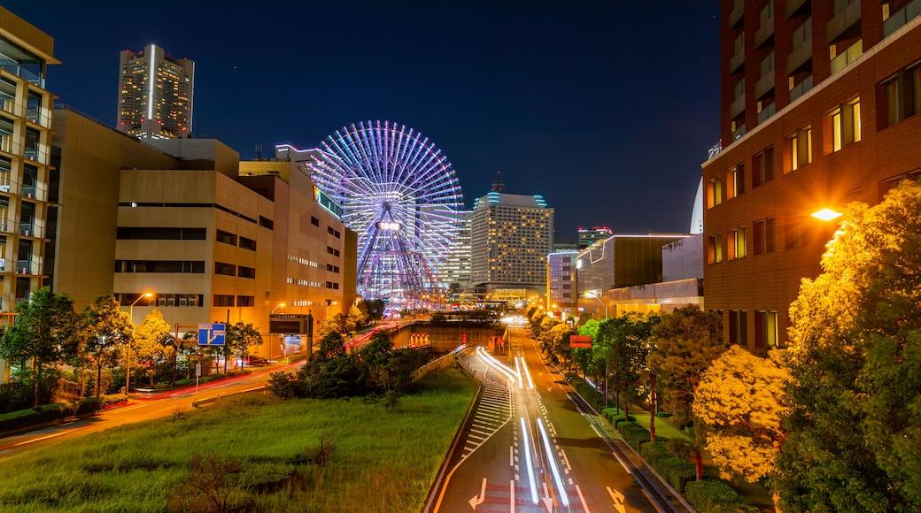 Yokohama showing a park and night scenes