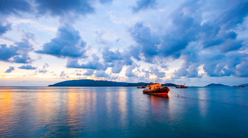 Kota Kinabalu Waterfront featuring a sunset and general coastal views