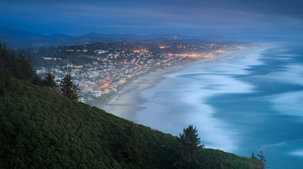 Lincoln City featuring night scenes, a coastal town and general coastal views