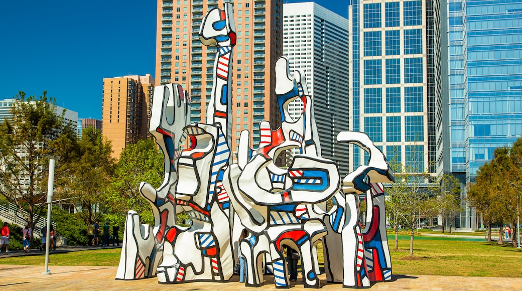 Discovery Green featuring outdoor art
