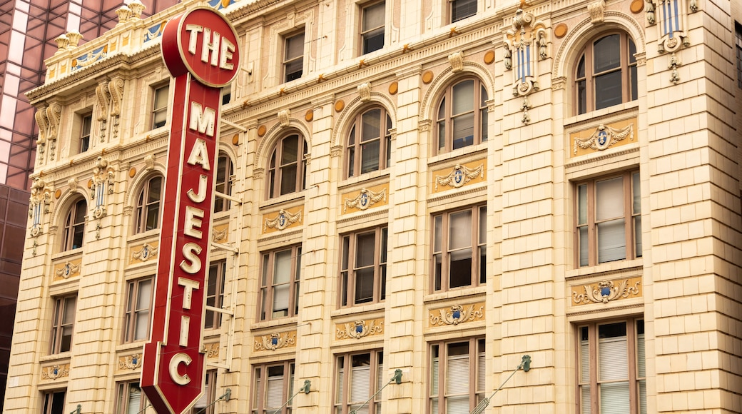 Majestic Theater featuring a city, heritage architecture and signage