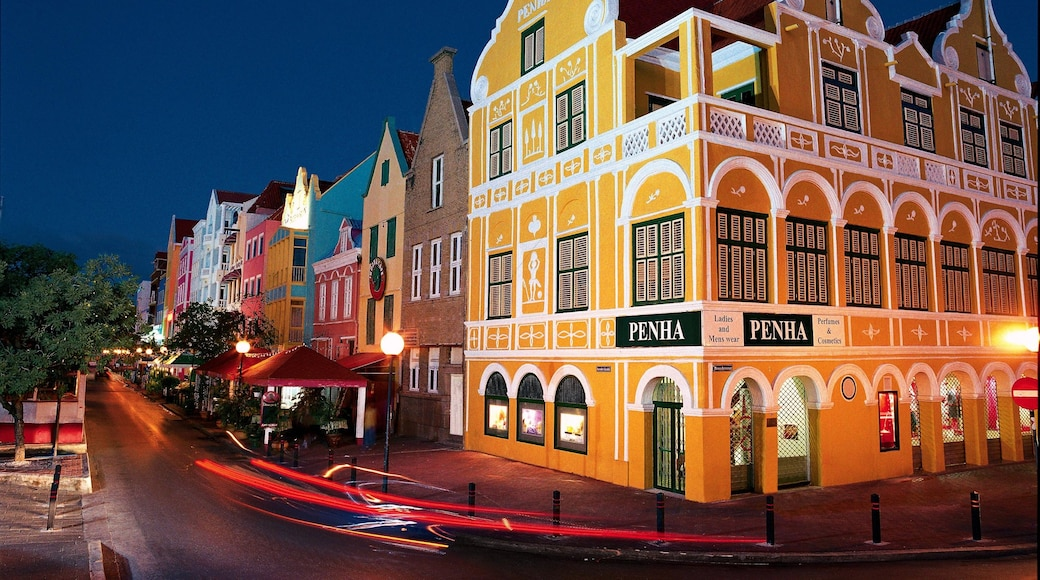Willemstad showing night scenes, a city and street scenes