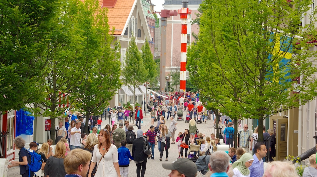 Liseberg Amusement Park which includes a city and street scenes as well as a large group of people