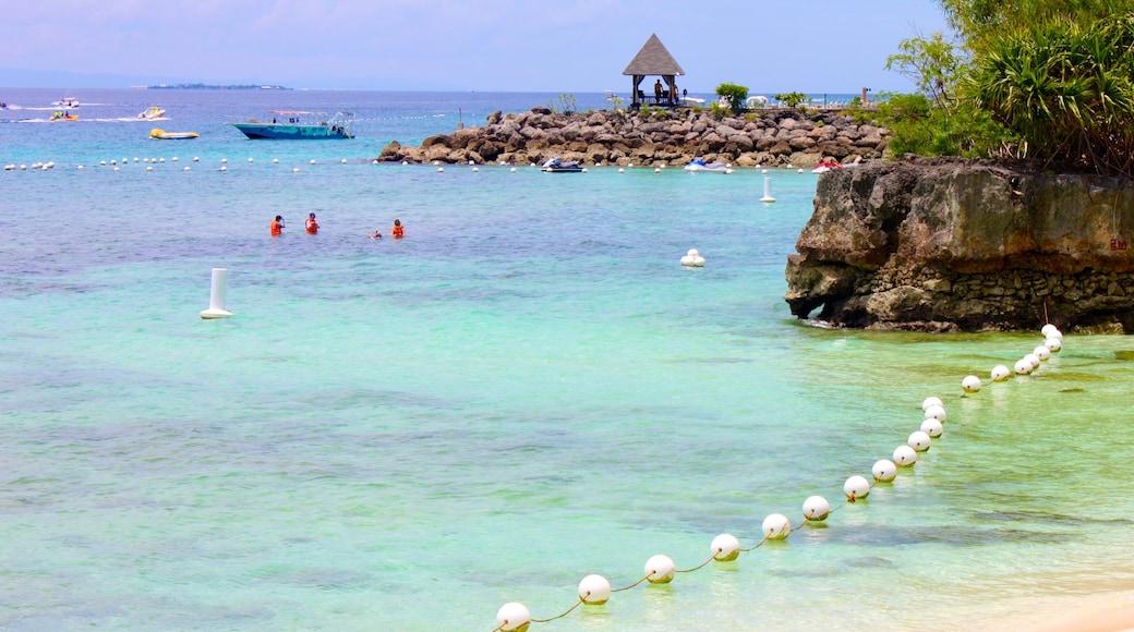 세부 을 보여주는 아열대 풍경, 모래 해변 과 암석 해안선