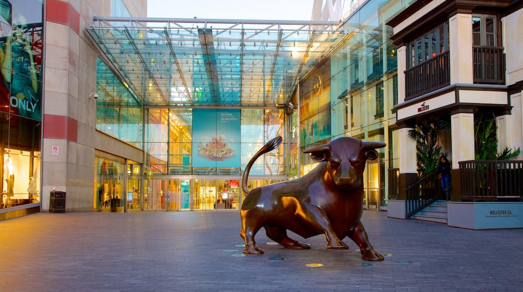 Bullring Shopping Centre showing a square or plaza, outdoor art and modern architecture