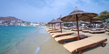 Mykonos Island featuring a coastal town and a sandy beach