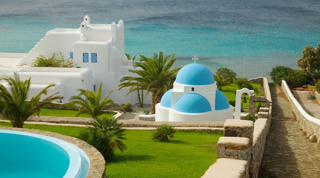 Mykonos Island featuring modern architecture, a church or cathedral and a coastal town