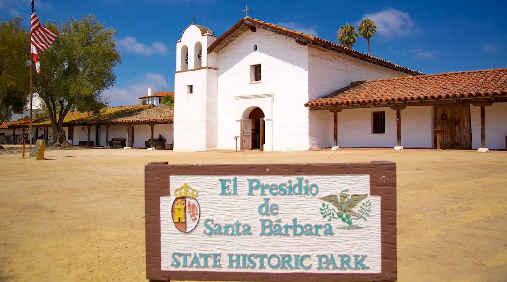 El Presidio de Santa Barbara State Historic Park which includes signage and heritage elements