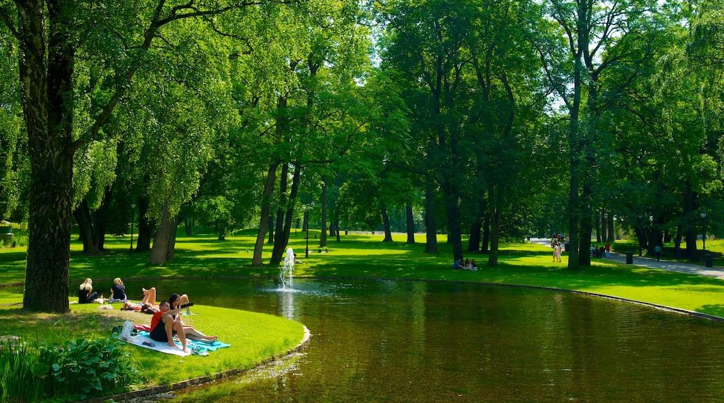 Schlosspark mit einem Teich, Picknicken und Garten