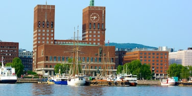 Oslo City Hall featuring a city, an administrative building and a bay or harbour