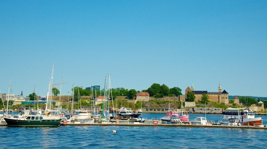 Aker Brygge showing a coastal town and a marina
