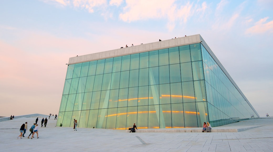 Oslo Opera House showing a city and theatre scenes