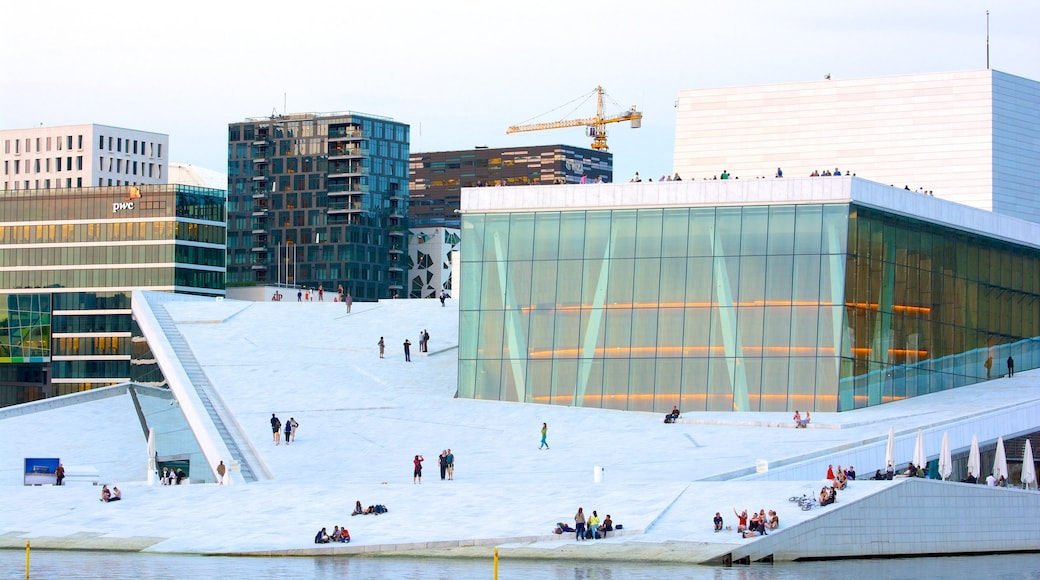 Oslo Opera House showing modern architecture, a city and theatre scenes