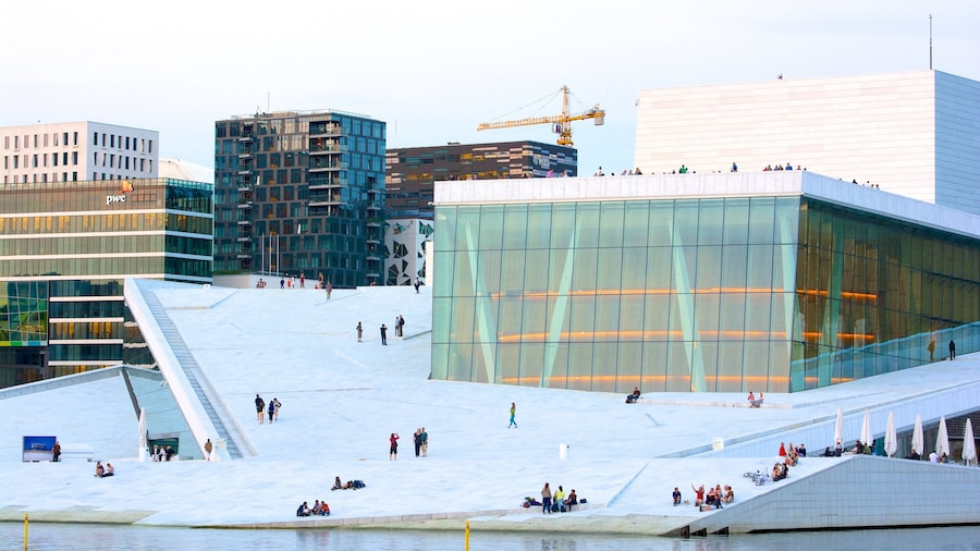 Oslo Opera House showing modern architecture, a city and theater scenes