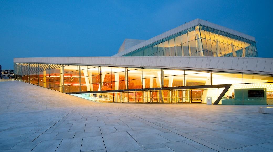 奧斯陸歌劇院 其中包括 夜景, 劇場環境 和 現代建築