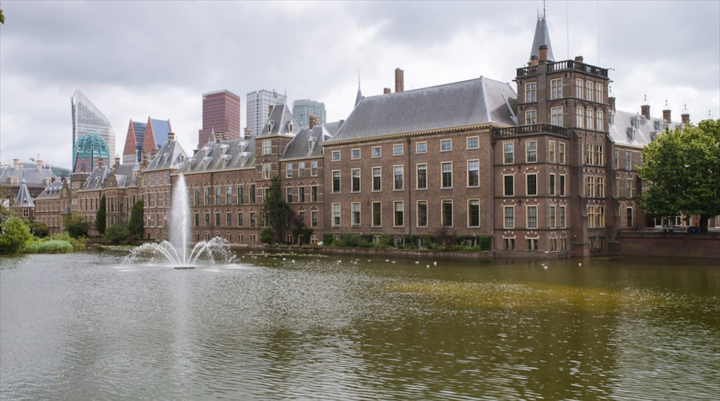 Binnenhof showing château or palace, a lake or waterhole and a fountain