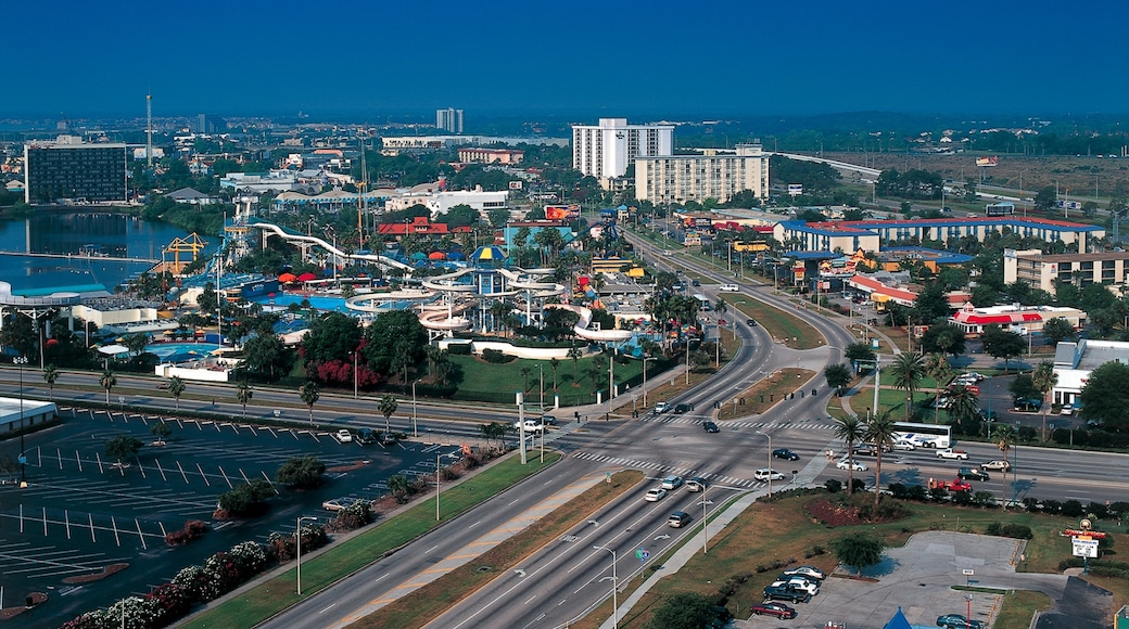 Orlando Premium Outlets International Drive featuring a city, street scenes and rides