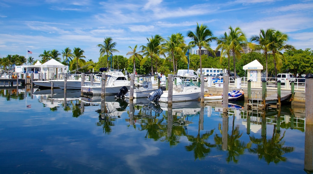 Coconut Grove which includes a marina and tropical scenes
