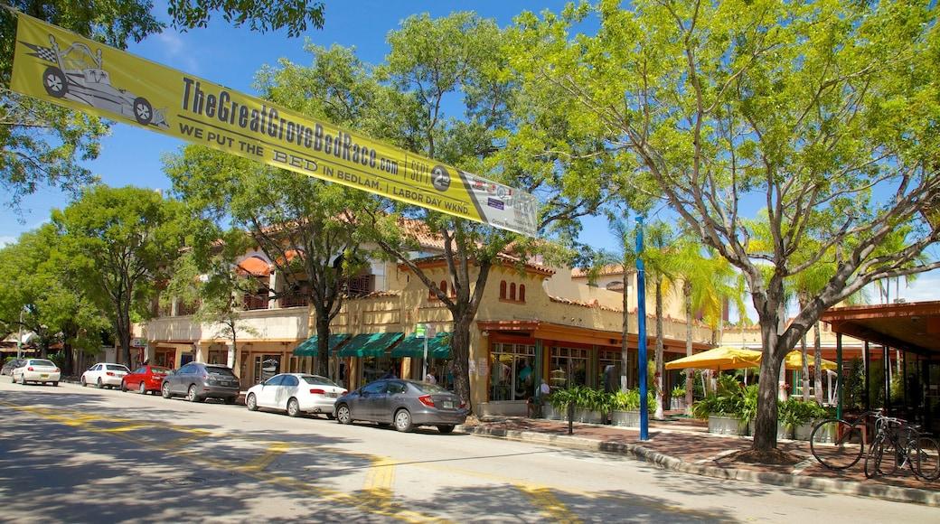 Coconut Grove som inkluderer skilt og gatescener