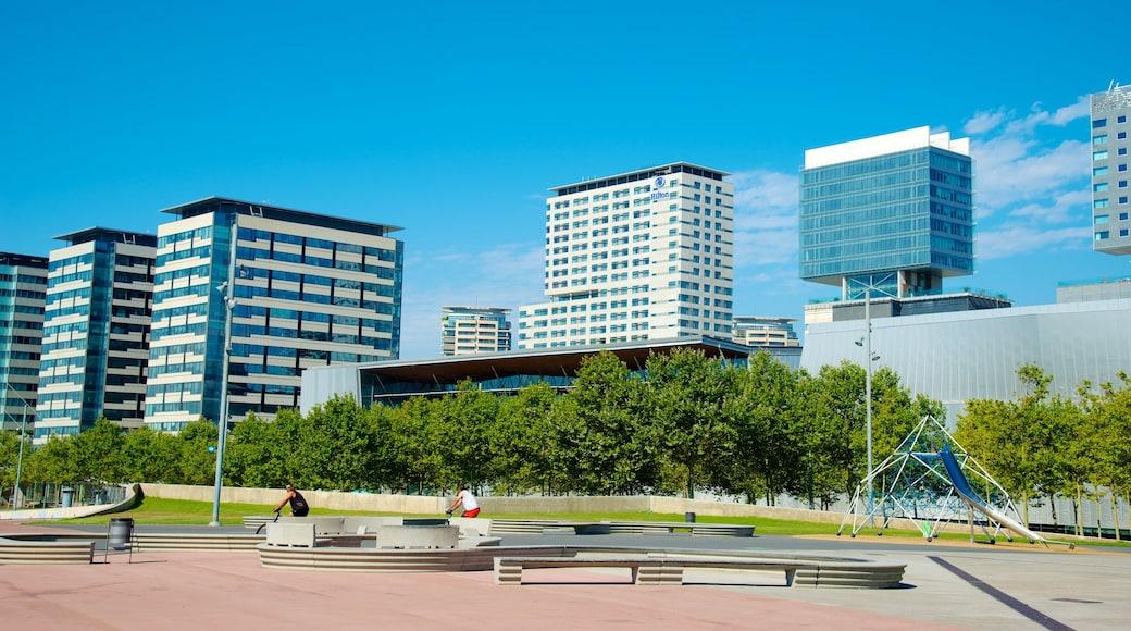 Barcelona ofreciendo una ciudad, horizonte urbano y una plaza