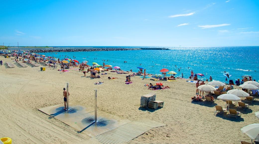 Barcelona som inkluderar en sandstrand såväl som en stor grupp av människor
