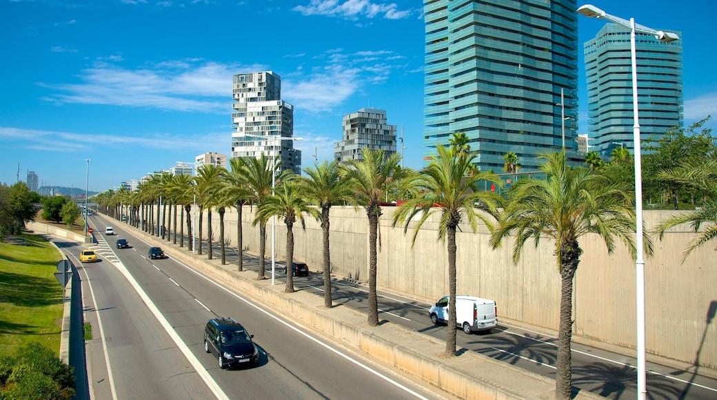 Barcelona ofreciendo un rascacielos, una ciudad y escenas cotidianas