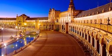 Plaza de Espana which includes street scenes, night scenes and a sunset