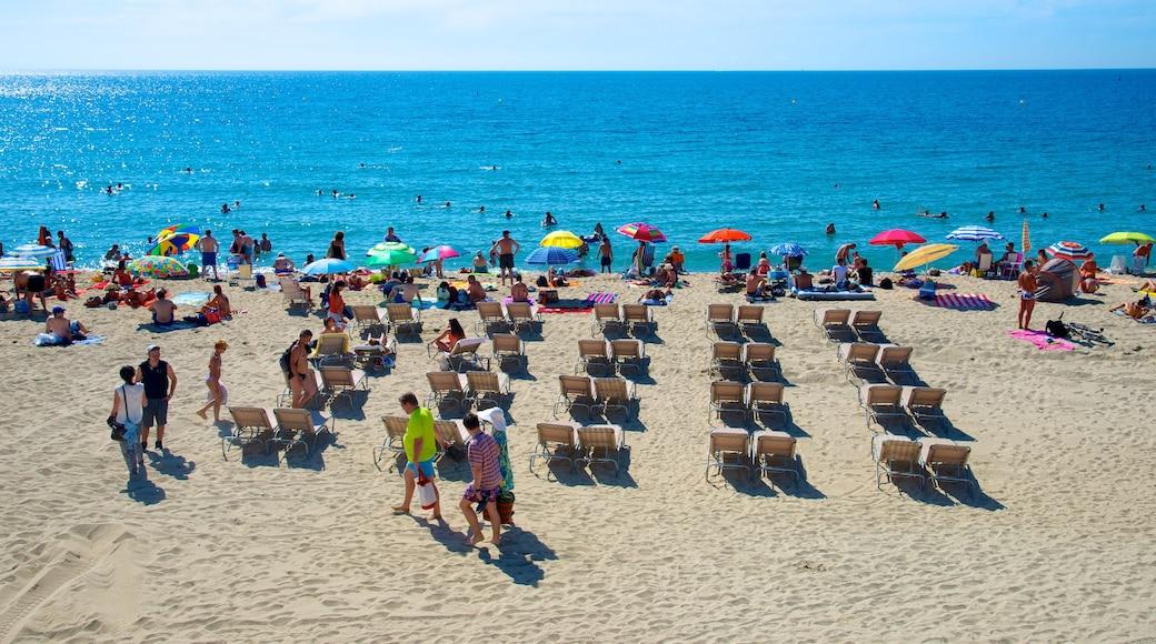 Katalonien som inkluderar en strand såväl som en stor grupp av människor