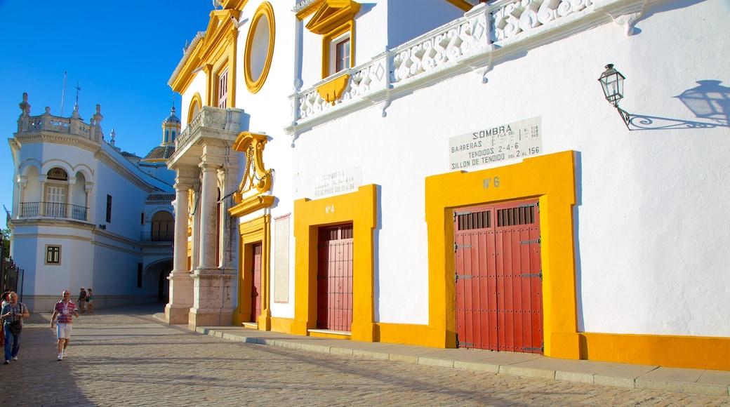 Plaza de Toros de la Real Maestranza som inkluderar gatuliv och historisk arkitektur