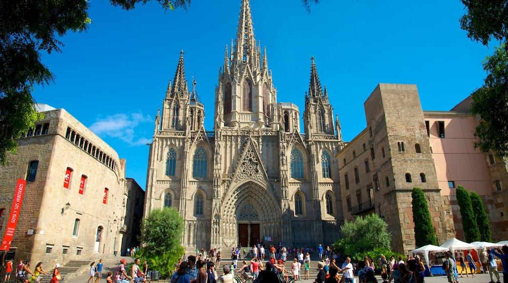 Cathédrale Sainte-Eulalie de Barcelone qui includes éléments religieux, patrimoine architectural et square ou place