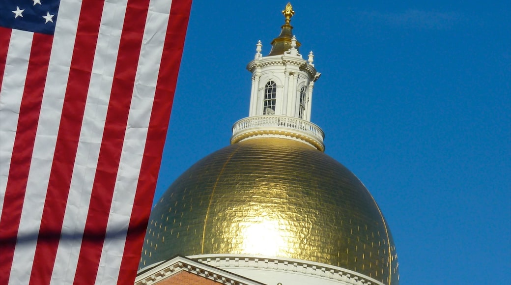 Massachusetts State House showing an administrative building and heritage architecture
