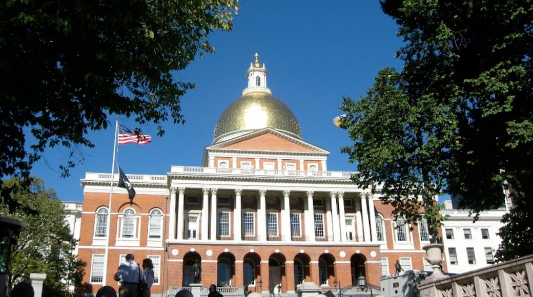Massachusetts State House showing heritage architecture and an administrative building