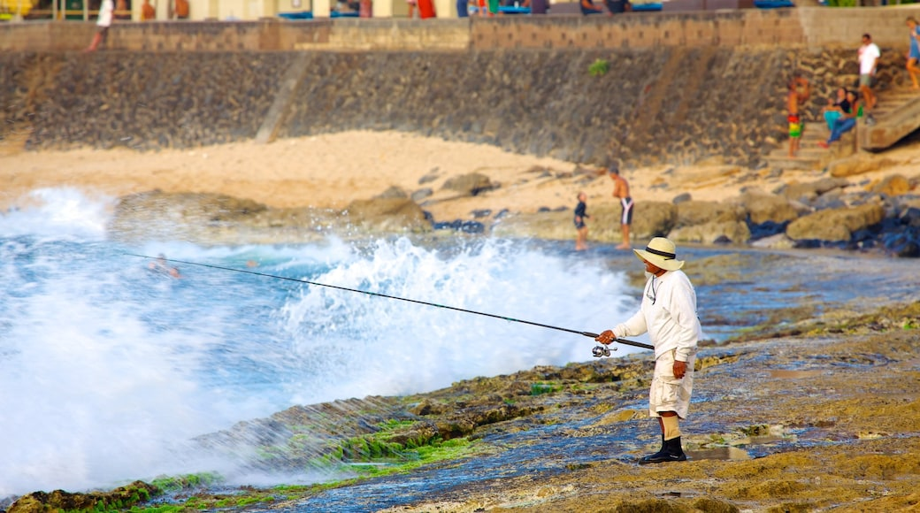 Hookipa Beach Park which includes rocky coastline and fishing as well as an individual male