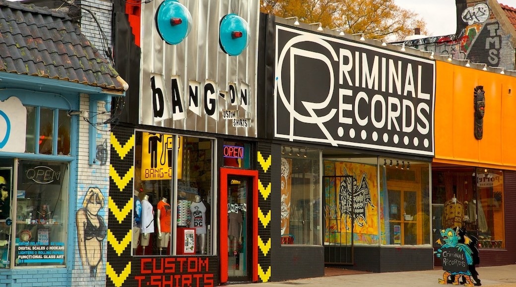 Little Five Points showing signage and outdoor art