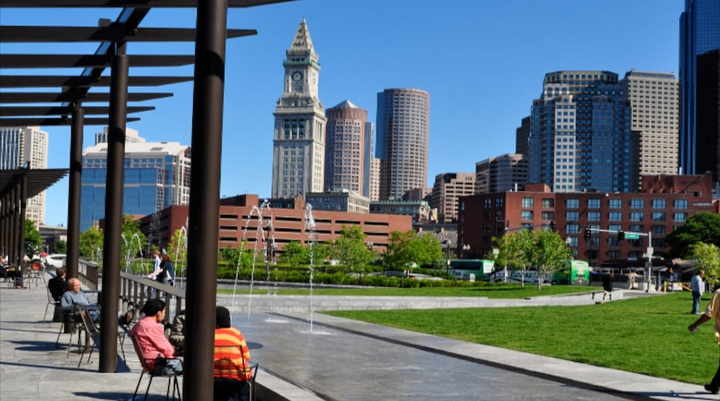 Boston which includes a fountain, a high-rise building and a garden